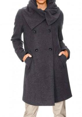 Pilkas vilnonis paltas