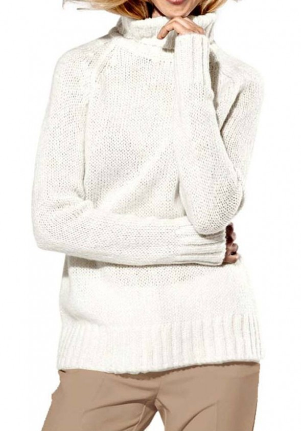 Baltas megztinis su vilna