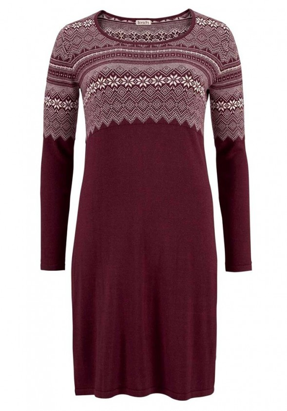 Megzta bordo suknelė