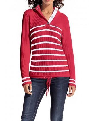 Raudonas dryžuotas megztinis