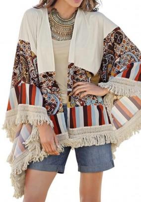 Patchwork poncho jacket, multicolour