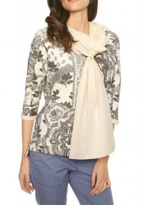 Sweatshirt with scarf, khaki-ecru