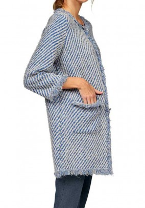 Knit coat, blue-cream