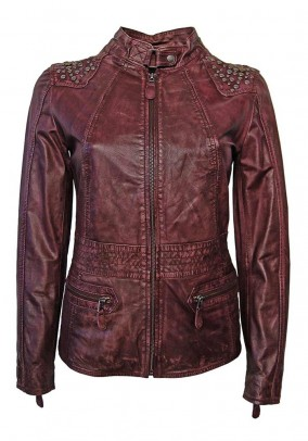 Lambnappa leather jacket with. Rivets, burgundy