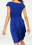 Designer cocktail dress, indigo blue