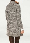 Designer long-knit cardigan, stone-black