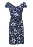 Mėlyna suknelė su širdelių ornamentais