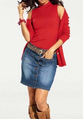 Raudonas megztinis + palaidinė