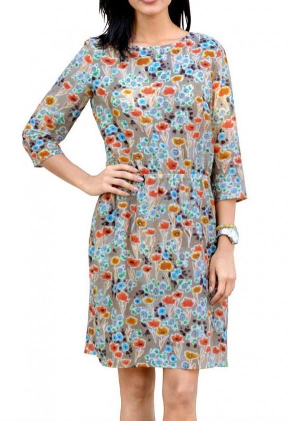 Gėlėta suknelė su šilku
