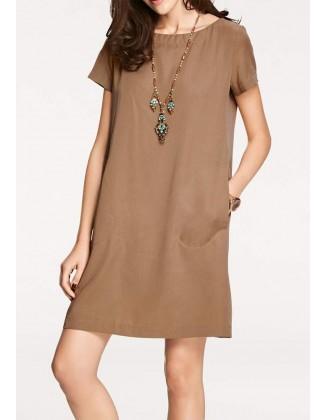 Laisvo pasiuvimo ruda suknelė