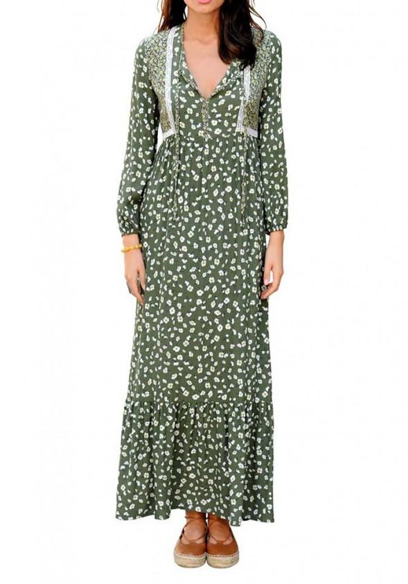 Ilga žalia vintažinė suknelė