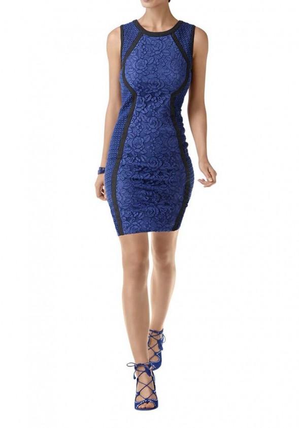 Mėlyna nėriniuota suknelė