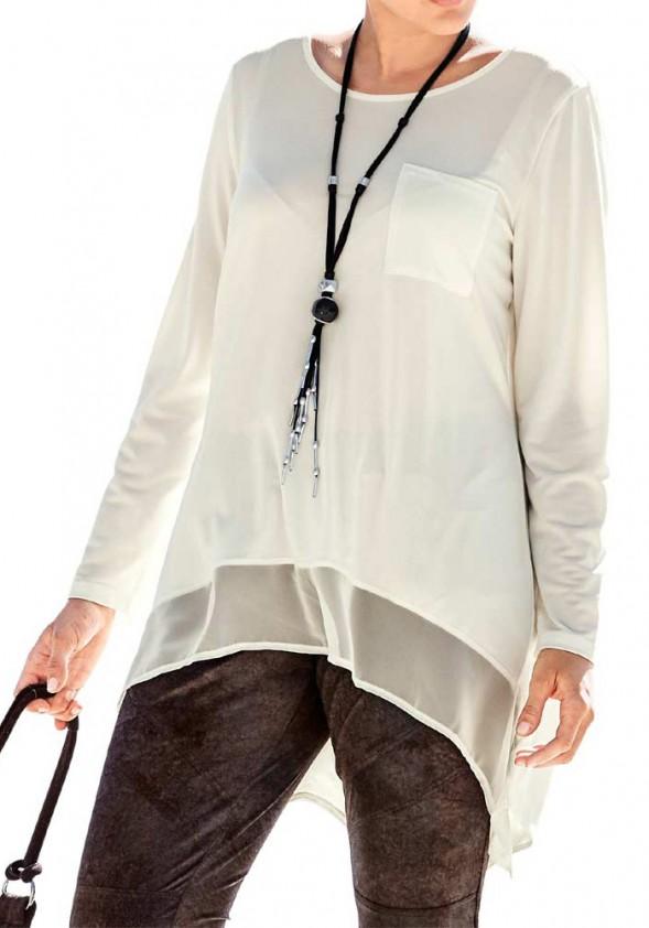 Longshirt with chiffon, ecru
