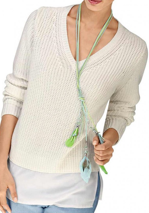 Baltas originalus megztinis