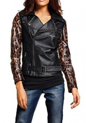 Leather jacket, black-leopard