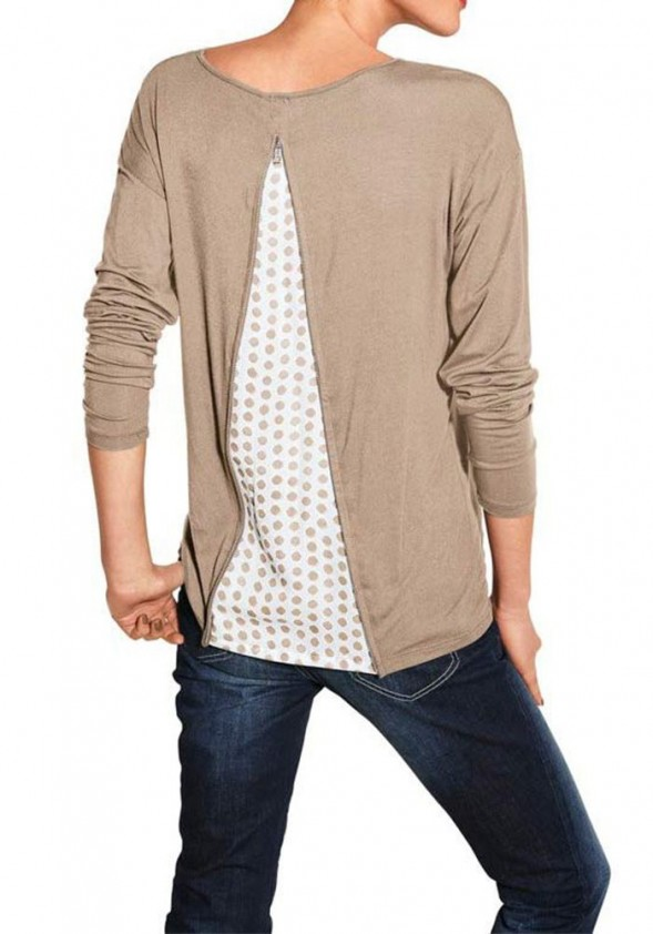 Shirt with insert, taupe