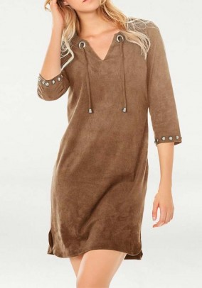 Leather imitation dress, cappuccino