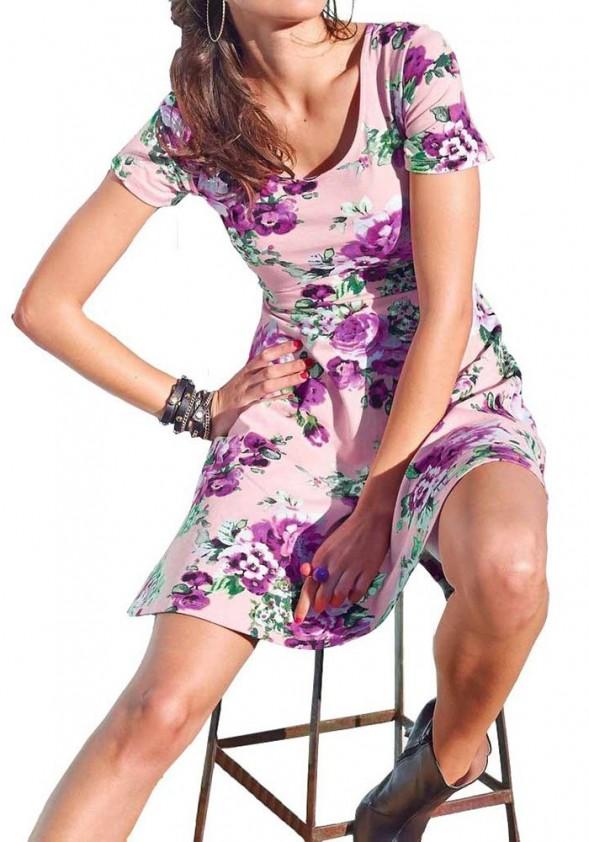 Rausva gėlėta suknelė