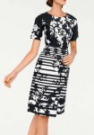 Print dress, black-white