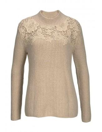 Rusvas dekoruotas megztinis