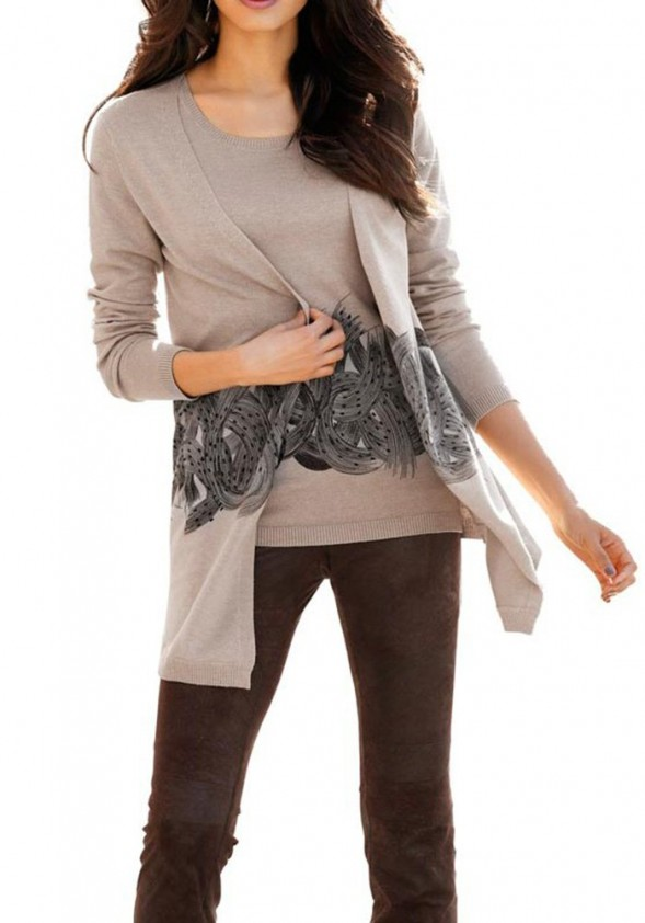 Cardigan with strass, taupe-black