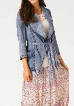 Belt jacket in denim look, blue