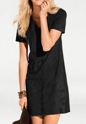 Leather imitation dress, black