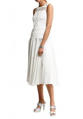 Balta midi suknelė