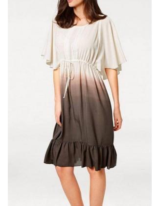Pastelinių spalvų rusva suknelė