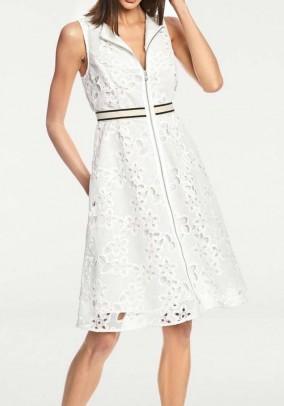 Balta nėriniuota suknelė su užtrauktuku