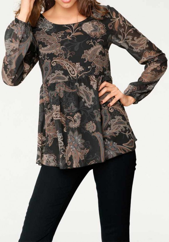 Print blouse, black-camel