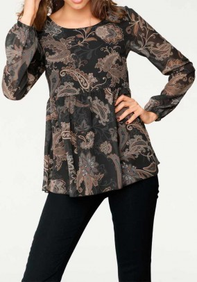 Print blouse, black-camel