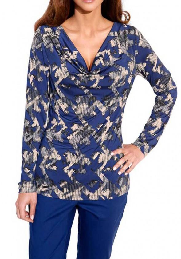 Print shirt, royal blue/ stone