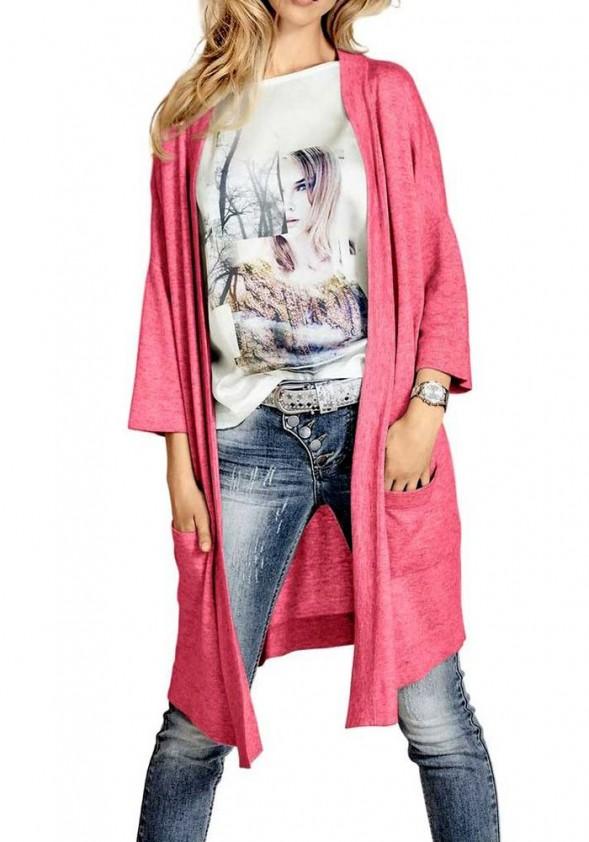 Ilgas rožinis megztinis su kašmyru