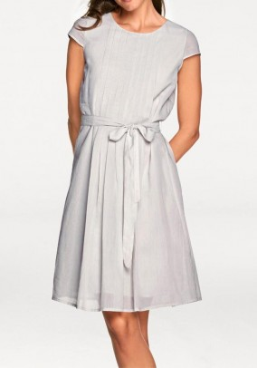 Pleat dress, silver-grey
