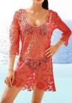 Koralo spalvos paplūdimio suknelė