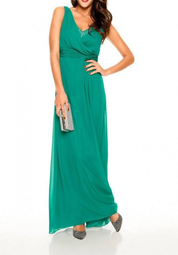 Ilga žalia vakarinė suknelė