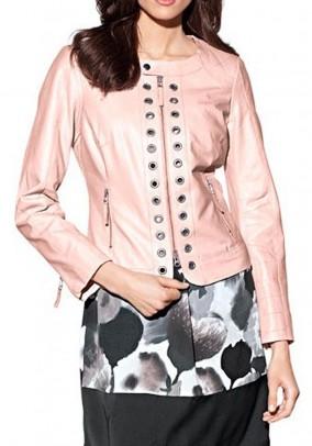 Designer lamb nappa leather jacket, pink