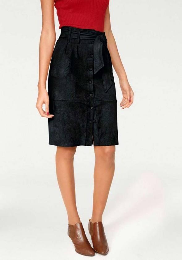 Velours imitation skirt, black