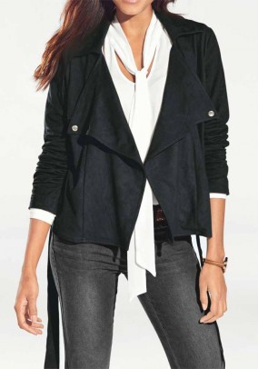 Velours leather imitation blazer, black