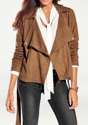 Velours leather imitation blazer, camel
