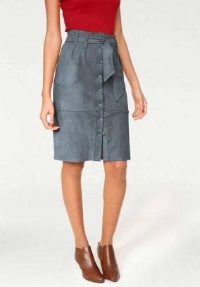 Pilkas veliūro sijonas