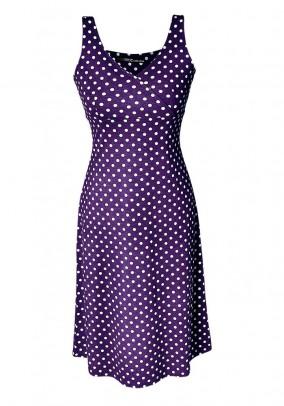 Violetinė suknelė su taškeliais