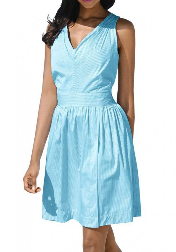 Dress, turquoise-white