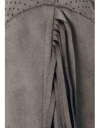 Ekstravagantiška pilka odinė striukė