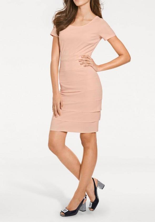 Pudros spalvos klasikinė suknelė