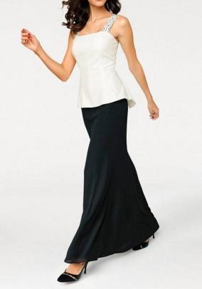 Ilga vakarinė dviejų spalvų suknelė