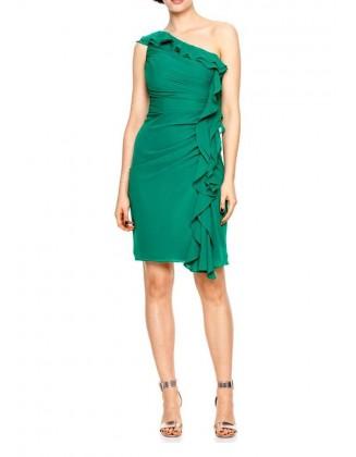 Ryškiai žalia kokteilinė suknelė