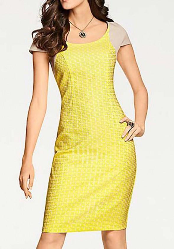 Designer jacquard dress, yellow