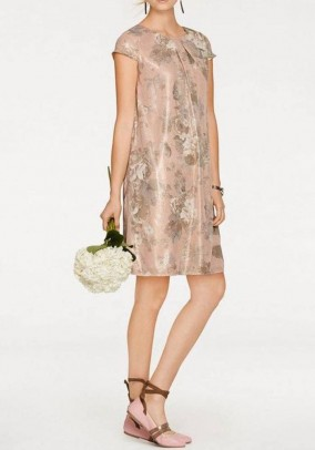 Print dress, powder-gold coloured